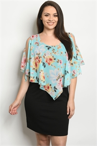 C80-A-2-D0130X AQUA BLACK WITH FLOWER PLUS SIZE DRESS 2-2-2