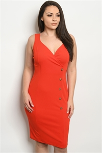 C35-A-2-D074X ORANGE PLUS SIZE DRESS 2-2-2