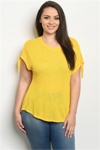 C11-B-1-T1014X YELLOW PLUS SIZE TOP 2-2-2
