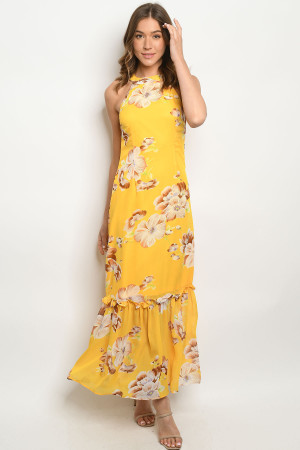 S15-2-3-D2214 YELLOW FLORAL DRESS 2-2-2