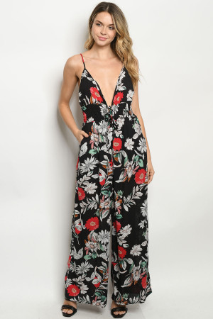 S24-1-2-J81000 BLACK FLORAL JUMPSUIT 2-2-2