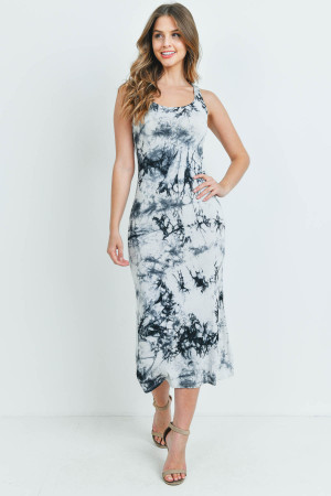 S8-9-1-D005 WHITE BLACK TIE DYE DRESS 1-2-2-1