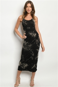 S25-3-4-D005 BLACK TAUPE TIE DYE DRESS 1-2-2-1