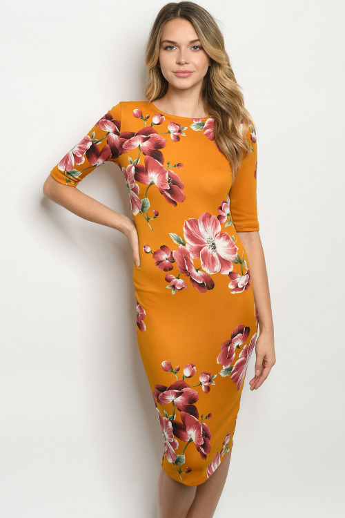 C15-A-2-D9824 MUSTARD WITH FLOWERS DRESS 2-2-2