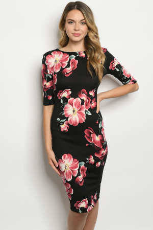 C11-A-1-D9824 BLACK WITH FLOWERS DRESS 2-2-2