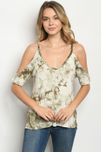 C56-A-1-T4428 OLIVE TIE DYE TOP 2-2-1-1