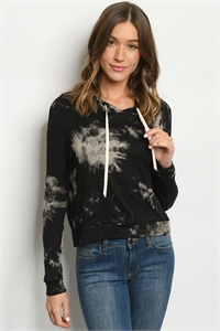 S12-11-2-T4591 BLACK TIE DYE TOP 2-2-2-2