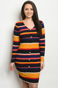 C39-A-2-D13494X MULTI COLOR STRIPES PLUS SIZE DRESS 2-2-2