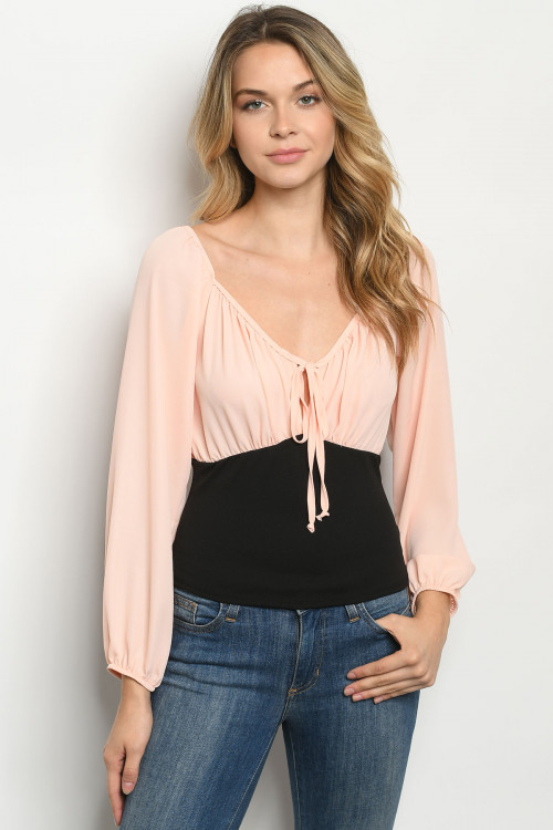 C21-B-1-T3173 PEACH BLACK TOP 2-2-2