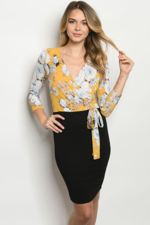 C11-A-1-D5218 MUSTARD BLACK WITH FLOWER DRESS 2-2-2