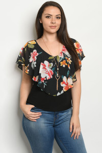 C9-B-2-T3238CX BLACK WITH FLOWER PLUS SIZE TOP 2-2-2