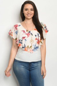 C9-B-2-T3238CX IVORY WITH FLOWER PLUS SIZE TOP 2-2-2