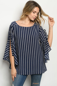 S15-12-5-T11649 NAVY STRIPES TOP 2-2-2