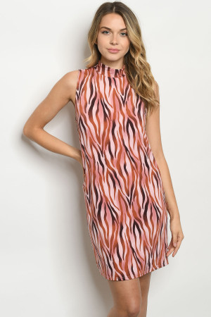 S24-4-3-D1268 BLUSH ZEBRA PRINT DRESS 2-2-2