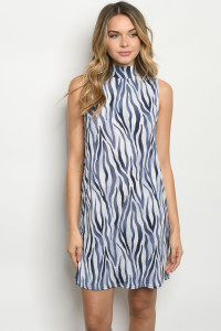 S24-4-3-D1268 BLUE ZEBRA PRINT DRESS 2-2-2