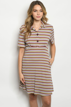 S24-4-1-D41876 MULTI STRIPES DRESS 2-2-2