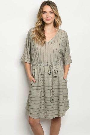 S21-4-2-D41831 OLIVE STRIPES DRESS 2-2-2
