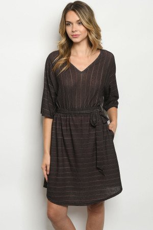 S21-4-2-D41831 BLACK STRIPES DRESS 2-2-2