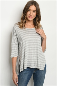 C15-B-2-T7392 GRAY STRIPES TOP 2-2-2