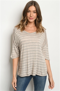 C15-B-2-T7392 MOCHA STRIPES TOP 2-2-2