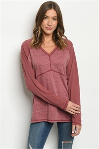 S23-4-1-T24096 BURGUNDY TOP 2-2-2