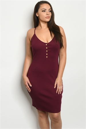 C12-A-2-D13026X BURGUNDY PLUS SIZE DRESS 2-2-2
