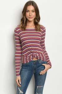 C23-B-1-T6594 PURPLE MULTI STRIPES  TOP 2-2-2