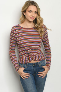C26-B-2-T6594 OLIVE MULTI STRIPES  TOP 2-2-2