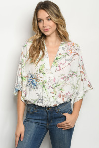 C26-B-1-T2308 OFF WHITE FLORAL TOP 2-2-2