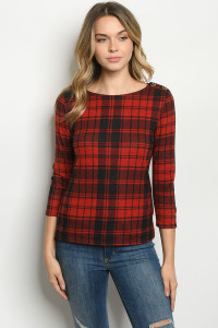 C28-B-1-T6889 BLACK RED CHECKERED TOP 2-2-2
