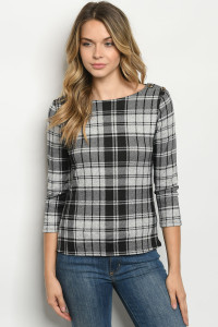 C30-B-1-T6889 GRAY BLACK CHECKERED TOP 2-2-2