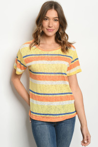 C42-B-1-T2344 YELLOW STRIPES TOP 2-2-2