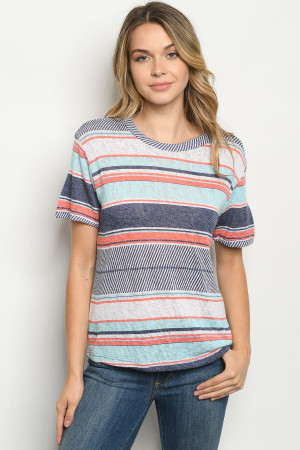C44-B-2-T2344 BLUE MULTI STRIPES TOP 2-2-2
