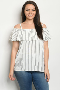 C29-A-1-T6965X OFF WHITE STRIPES PLUS SIZE TOP 1-2-3