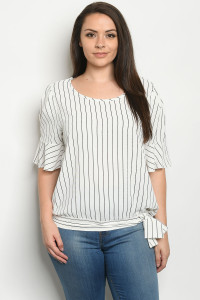 C41-A-1-T6966X OFF WHITE STRIPES PLUS SIZE TOP 1-2-3