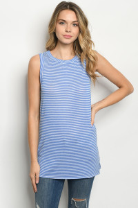 C66-B-1-T8974 BLUE WHITE STRIPES TOP 2-2-2