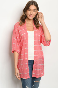 C66-A-1-CK5419 PINK WHITE STRIPES CARDIGAN 2-2-2