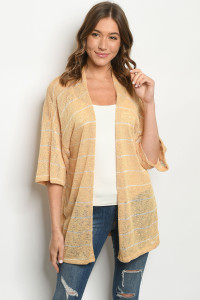 C66-A-3-CK5419 MUSTARD WHITE STRIPES CARDIGAN 2-2-2