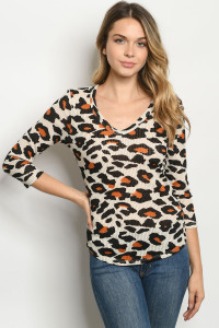 C96-A-2-T6690 TAN ANIMAL PRINT TOP 2-2-2
