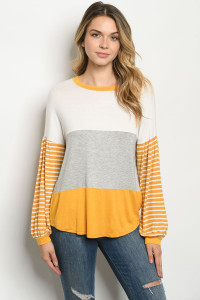 C99-A-1-T6348 IVORY MUSTARD STRIPES TOP 2-2-1