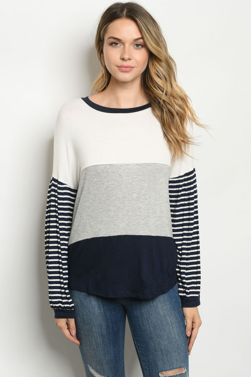 C96-A-1-T6348 IVORY NAVY STRIPES TOP 2-2-2