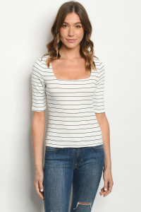 C99-B-1-T2885 OFF WHITE STRIPES TOP 2-2-2