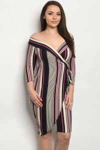 C12-A-3-D542X MAGENTA STRIPES PLUS SIZE DRESS 2-2-2