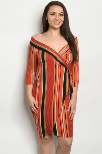 C14-A-2-D542X RUST STRIPES PLUS SIZE DRESS 2-2-2