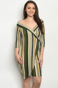 C14-A-2-D542X OLIVE STRIPES PLUS SIZE DRESS 2-2-2