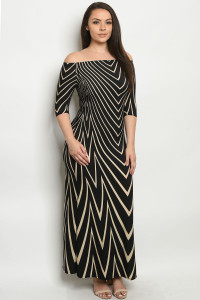 C18-A-2-D130X BLACK STRIPES PLUS SIZE DRESS 2-2-2