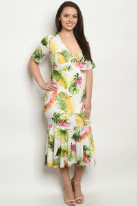 C22-A-3-D916DX IVORY WITH LEAVES PLUS SIZE DRESS 2-2-2