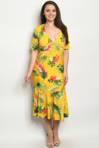 C22-A-3-D916DX YELLOW WITH LEAVES PLUS SIZE DRESS 2-2-2