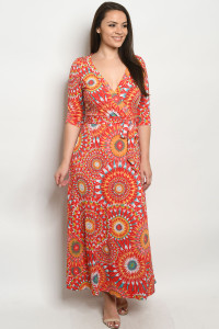 C27-A-1-D928DX RED MULTI PLUS SIZE DRESS 3-2-2