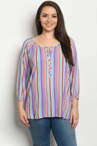 C28-B-3-T933TX BLUE MULTI PLUS SIZE TOP 2-2-2
